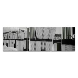 Bilderdepot24 Leinwandbild, Leinwandbild - Strandkörbe - schwarz weiß 120 cm x 40 cm