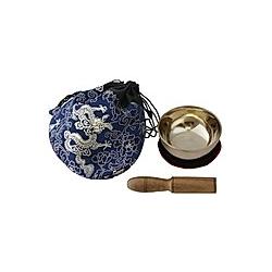 Klangschale (170 g) mit Unterlage  Klöppel und Beutel (blau)