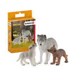 Schleich® Sammelfigur Schleich 42472 Wolfsmutter mit Welpen