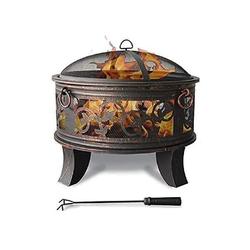 Jinfa Feuerschale Jinfa® Feuerschale mit Grillrost & Funkenschutzgit, (Feuerschale mit Grillrost, Funkenschutz und Schürhaken, Ø66cm)