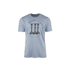 Sinus Art T-Shirt Vintage Herren T-Shirt Kerzenständer blau M