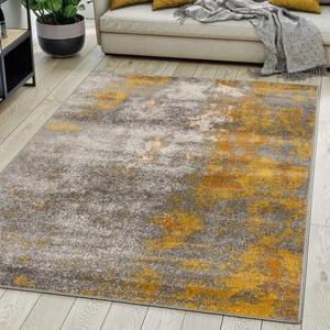 Carpeto Rugs Modern Teppich Abstrakt Muster - Kurzflor Teppich für Wohnzimmer, Schlafzimmer, Esszimmer - Versch. Größen und Farben - Gelb Gold 140 x 200 cm