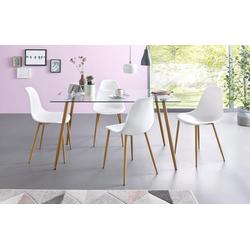 Essgruppe, (Set, 5-tlg), Eckiger Glastisch mit 4 Stühlen (Kunststoffschale) weiß