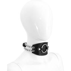 Leder Bondage Ketten Halsband mit O Ring