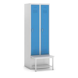 Metallkleiderschrank mit sitzbank und regal, blaue tür,