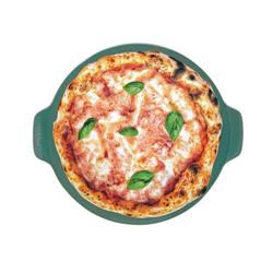 WALD Pizzastein Pizzaplatte 34 cm, dunkelgrau, Ton, durchgebrannt und glasiert