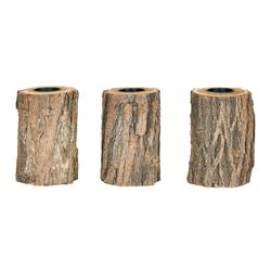Levandeo® Teelichthalter, 3er Set Teelichthalter Holz H15cm Kerzenhalter Kerzenständer Baum Natur Unikat