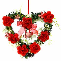 I.GE.A. Kunstpflanze Herz Rosen 25/26 cm (1 Stück) rot Kunstpflanzen Pflanzen Garten Balkon