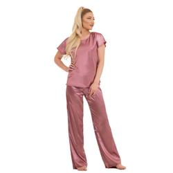 Evoni Pyjama Schlafanzug lang Pyjama aus Satin rosa L(40)