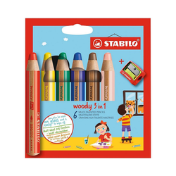 STABILO Buntstift Buntstifte woody 3 in 1, 6 Farben, inkl. Spitzer