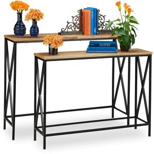 Relaxdays Konsolentisch Mangoholz, 2er Set, Industrie Design, Flur & Wohnzimmer, Metall Eingangstisch, Natur/schwarz