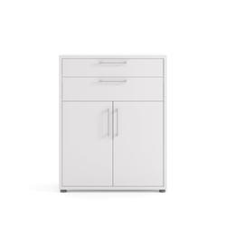 ebuy24 Regal, Mehrzweckregal Prisme Büro Aufbewahrung 2 Schubladen und 2 Türen. wei�