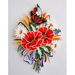 Stickereien Plauen Fensterbild Herbstblumenstrauß (1 Stück)