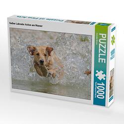 Gelber Labrador Action am Wasser Lege-Größe 64 x 48 cm Foto-Puzzle Bild von Cornelia Strunz Puzzle