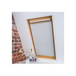 Dachfensterplissee Universal Dachfenster-Plissee, Liedeco, verdunkelnd, ohne Bohren, verspannt, Fixmaß weiß 67 cm x 141 cm