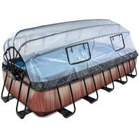EXIT TOYS Pool Wood 540 x 250 x 100 cm inkl. Sonnendach und Filterpumpe