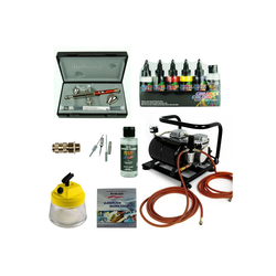 Airbrush-City Druckluftwerkzeug Fine-Art Airbrush Set - Infinity Two in One + Sparmax AC-500 Kompressor - Kit 9210, (1-St)
