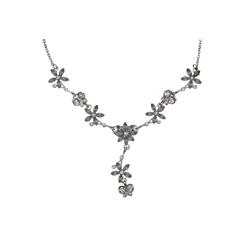 Steuer Collierkette Metall Y-Collier silberf. Mit Blumen und Schmetter silberfarben
