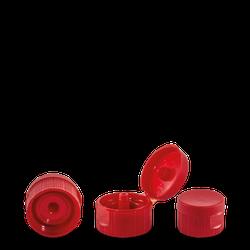 Klappscharnierverschluss - rot - PP - DIN 28