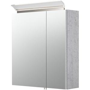 Bad-Spiegelschrank LEVIA - mit Acrylglaslampe - 60 cm breit - Betongrau