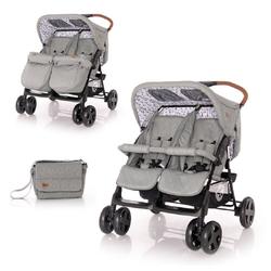 Lorelli Zwillingswagen Zwillingskinderwagen TWIN, Wickeltasche Einhand-Klappsystem Fußabdeckung grau