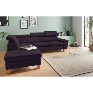 exxpo - sofa fashion Ecksofa, inklusive Kopfteilverstellung, wahlweise mit Bettfunktion und Bettkasten lila
