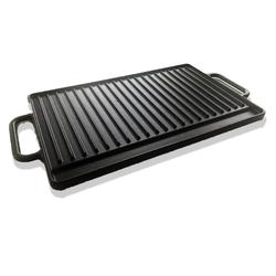 Gusseisen Grillplatte Grillaufsatz 42x26 cm Guss Platte für Gaskocher Gasgrill