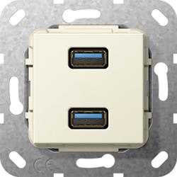 Gira 568501, USB 3.0 A 2f K-Peitsche Einsatz Cremeweiß