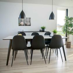 Ausziehbare Essgruppe in Schwarz und Weiß Skandi Design (7-teilig)