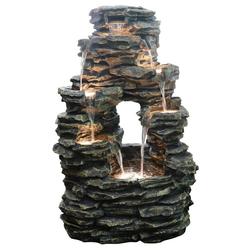 Dehner Gartenbrunnen Salto, LED, ca. 99 x 63.5 x 50 cm, Polyresin, grau