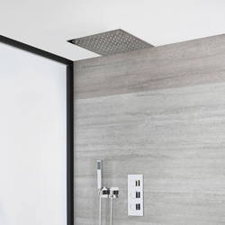 Unterputz-Duschsystem mit Thermostat mit 40cm x 40cm Unterputz-Duschkopf und Handbrauseset – Chrom – Kubix, von Hudson Reed