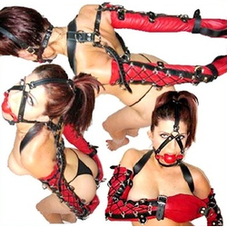 Leder Bondage Monohandschuh rot schwarz