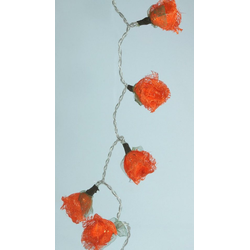 Guru-Shop LED-Lichterkette Bast Rosen LED Lichterkette 20 Stk. - orange orange