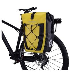 ROCKBROS Fahrradtasche Fahrradtasche Pack- Gepäckträgertasche 100% Wasserdicht 20/27Liter, gelb, Abnehmbar