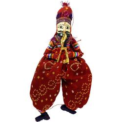 Guru-Shop Dekofigur Rajasthan Marionettenpuppe - Arun Jodhpur rot