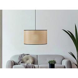 FISCHER & HONSEL LED Pendelleuchte, große Hängelampe mit Rattan Lampen-Schirm Ø 50cm, moderne Vintage Korb-Lampe dimmbar für über Esstisch, Küchenlampe & Esstischlampe