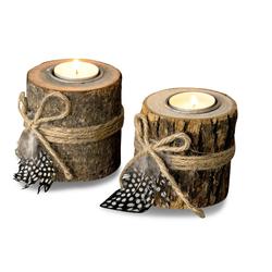 Levandeo® Teelichthalter, 2er Set Teelichthalter Holz je 8,5cm hoch Kerzenhalter Federn Kerzenständer