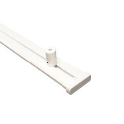 Gardinenschiene Alu 2-läufig weiß mit Deckenträger (Länge 120 cm)