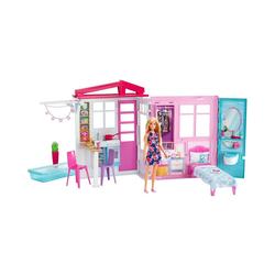 Mattel® Puppenhaus Barbie Ferienhaus mit Möbeln und Puppe