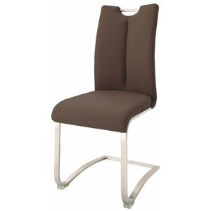 Freischwinger Set in Braun Leder Edelstahl (2er Set)