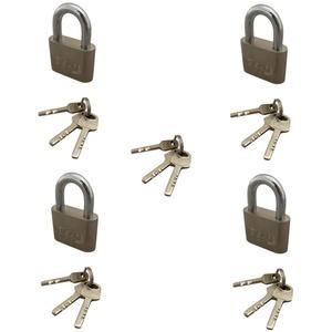 4er 50mm Massiver Vorhängeschloss Bügelschloss Sicherheitsschloss Gleichschließend mit 15 Schlüssel Set