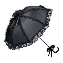 von Lilienfeld Stockregenschirm Hochzeitsschirm schwarz mit Rüschen, Spitzenborte