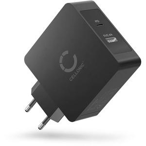 CELLONIC® 2 Fach USB Ladegerät für Handy Smartphone Tablet mit USB PD Power Delivery 57W - 5.4A Schnellladegerät Mehrfachstecker USB Netzteil Ladeadapter Steckdose Netzstecker USB Charger Ladestecker