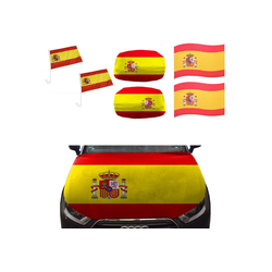 Sonia Originelli Fahne Auto Fan-Paket Haubenfahne Fensterfahnen Spiegelfahnen Magnetflaggen Spanien Spain Espana, Fanartikel für das Auto in Spanien-Farben Fanset-10XXL