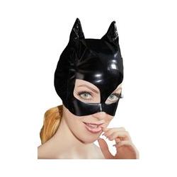 Kopfmaske aus Lack, mit Ohren und Katzenaugen-Öffnungen
