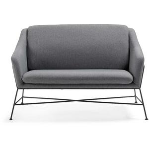 2er Sofa in Dunkelgrau Stoff Armlehnen