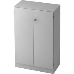 bümö Aktenschrank OM-6550 Büroschrank, Flügeltürenschrank für Ordner, Akten & Bücher mit 3 Ordnerhöhen - Dekor: Grau/Grau grau