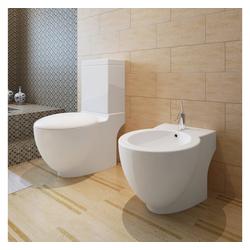 vidaXL Flachspül-WC Stand-WC & Bidet Set Weiß Keramik
