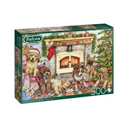 Falcon Puzzle 11310 Debbie Cook Christmas Puppies, 500 Puzzleteile