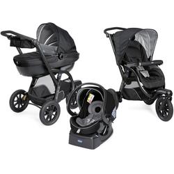 Chicco Kombi-Kinderwagen Trio-System Activ3 Top, Jet Black, mit Regenschutz; Kinderwagen